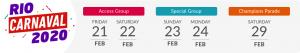 Rio Carnival 2020 dates